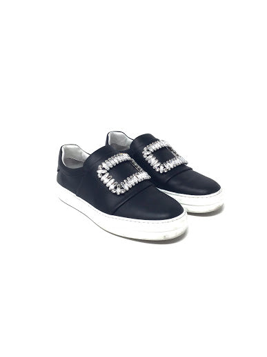 Roger Vivier 'Sneaky Viv Strass' Leather Broach Sneakers