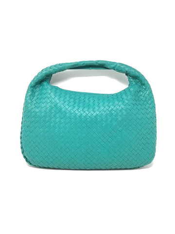 Bottega Veneta Teal Leather Woven MD Intrecciato Hobo Handbag