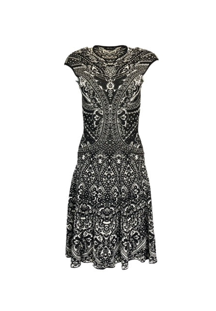Alexander McQueen Size S Black & White Sleeveless A-Line Sweater Dress