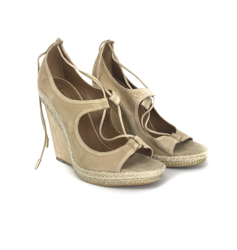 Aquazzura Suede Wedge Size 39.5 Sandals
