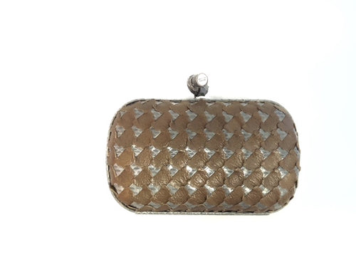 Bottega Veneta Brown Lazor Cut Leather & Snakeskin Clutch