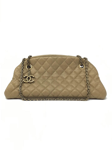 Chanel Gold  'Just Mademoiselle' Quilted Caviar Handbag