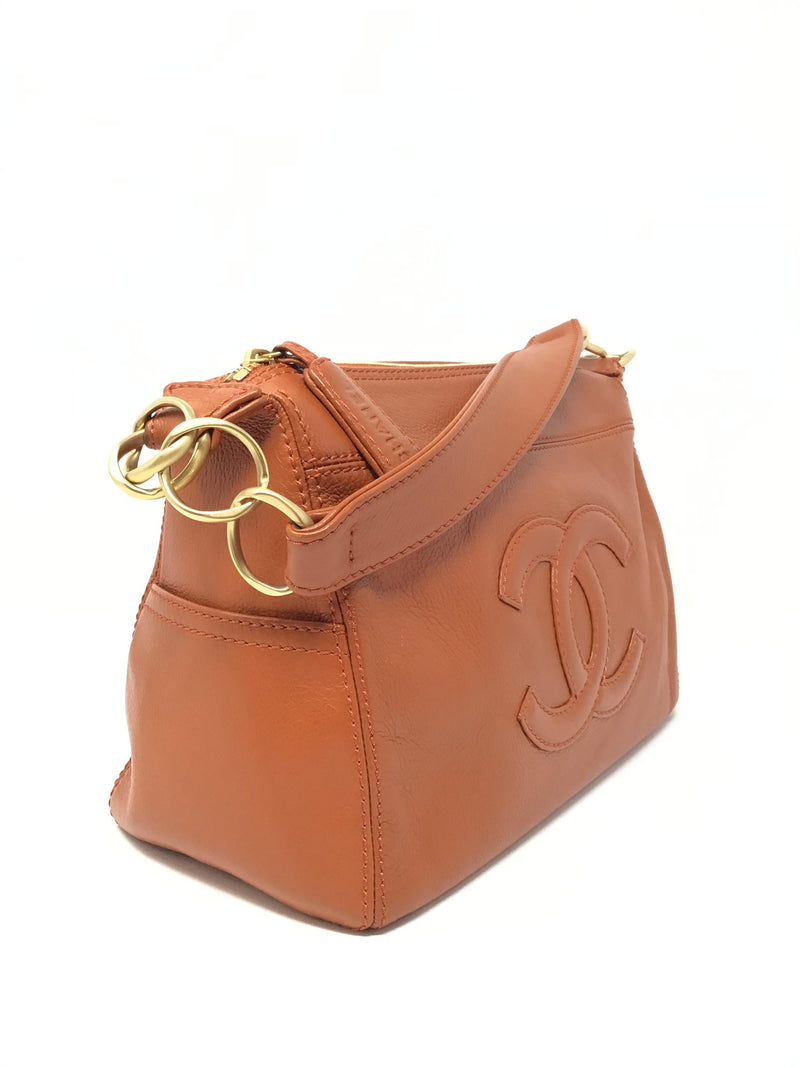 Chanel Orange 03'-04' Leather Shoulder Bag W/ CC & Side Pockets