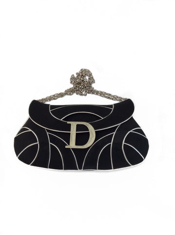 "Dior Black Limited Edition Crystal Chain ""D"" Flap Handbag"