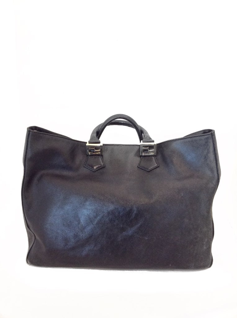 "Fendi Black Tote Large Leather "" Twin Tote"" Bag"