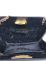 Ferragamo Black Vintage Leather Box Handbag W/Chain