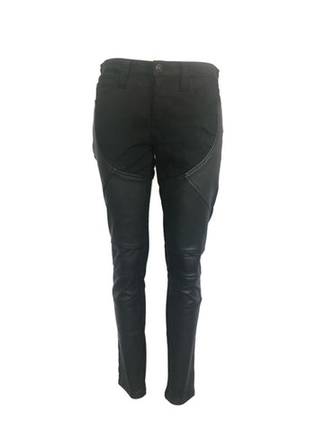 Frankie B. 29 Black Moto Faux Leather Patch Denim