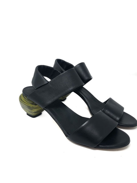 "Gray Matters 41 ""Marmo"" Sling Back Nero Verde"