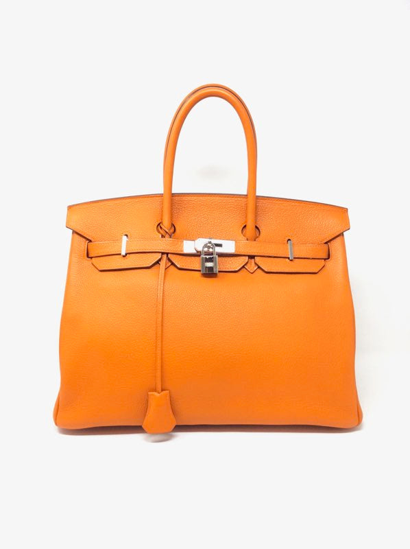 Hermes Orange Tote 35 Birkin Togo W/Palladium Hardware