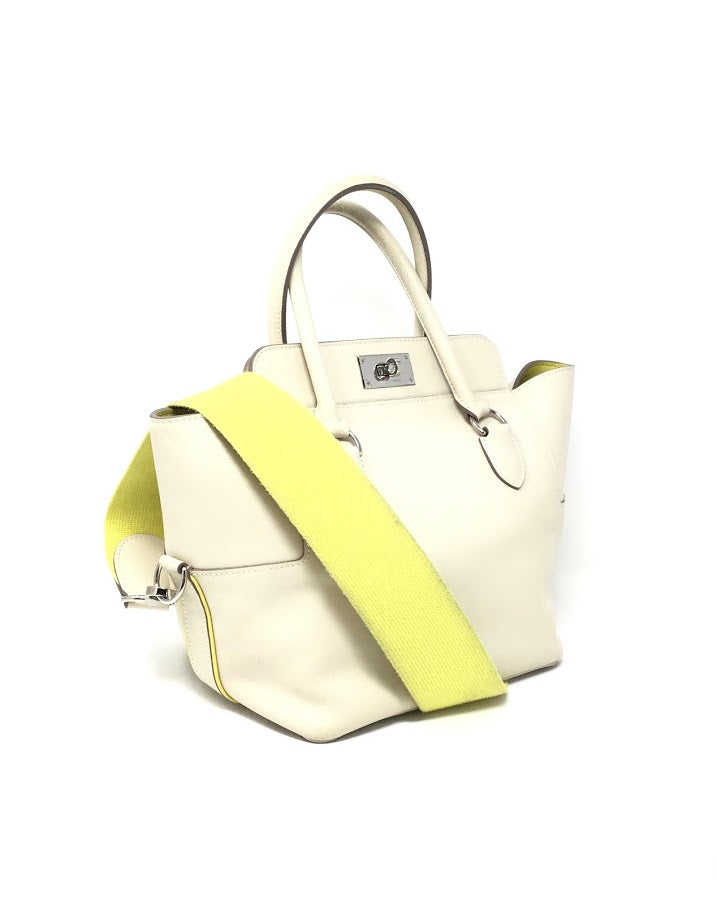Hermes Ivory/ Yellow Two Tone Eclat Toolbox 20 WO/ Lock