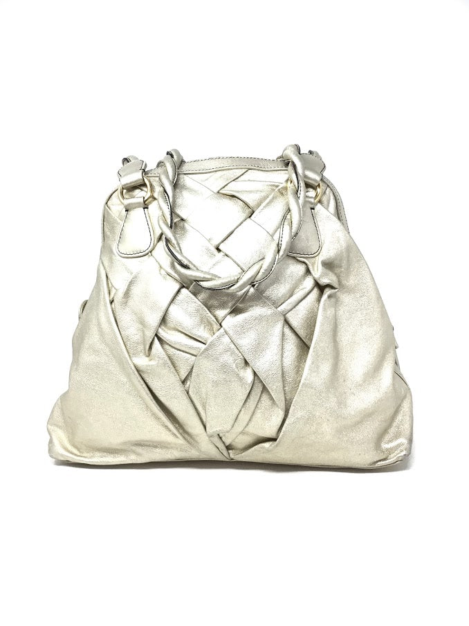 Valentino Gold Metallic Braided Leather Top Zip Bag