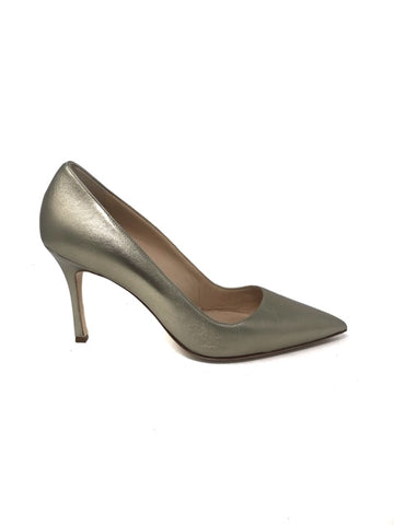 Manolo Blahnik 41 Metallic Leather Classic Pointy Pumps