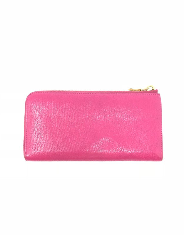 Miu Miu WB! Madras L Shape Zip Wallet