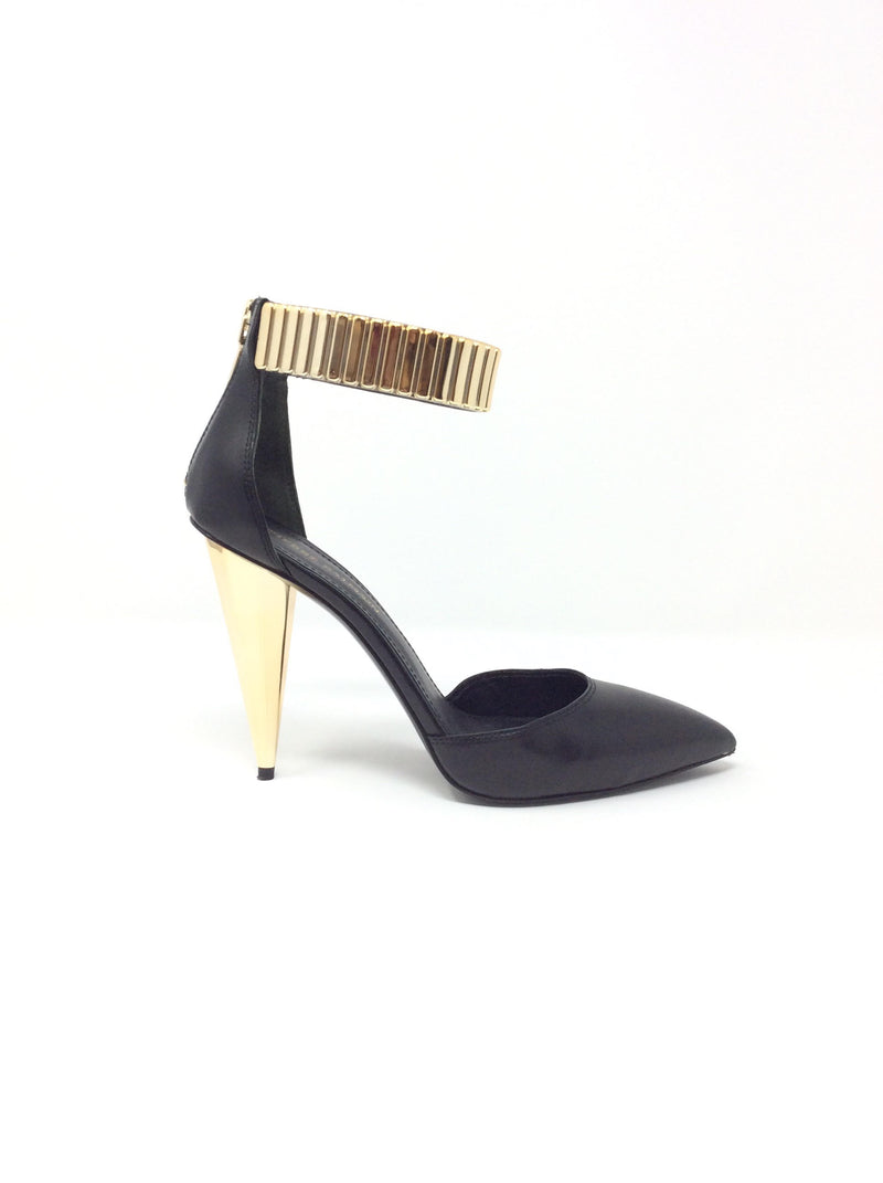 Pierre Balmain Leather Facet Stone Ankle Strap Pumps