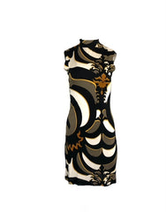 Pucci Size 10 Black & Tan Day High Neck Sleeveless W/ Exposed Back Zipper