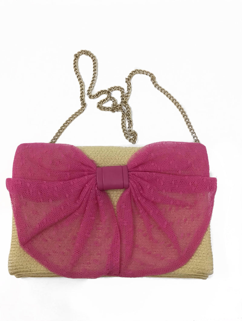 RED Valentino Nude/Pink Straw Point d'Esprit Bow  Bag
