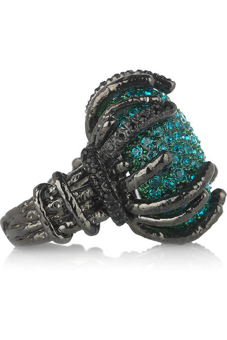 Roberto Cavalli Black/Green Ring