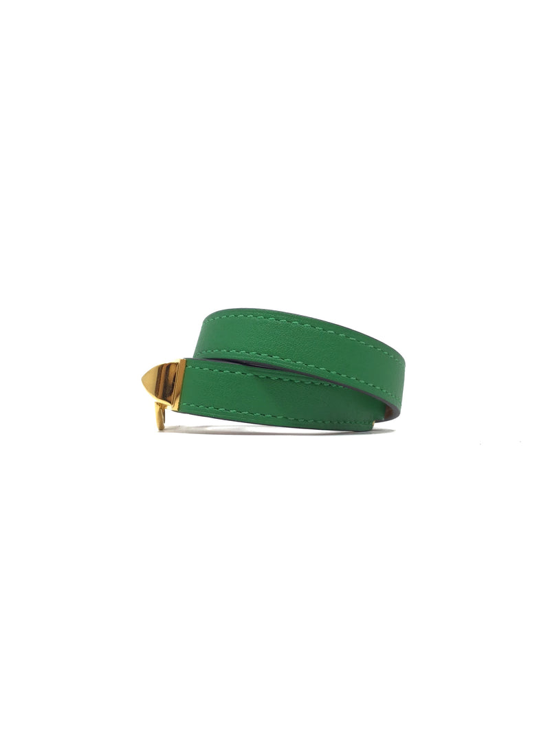 Hermes Palm Green SM Rivale Double Tour Bracelet