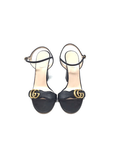 Gucci W Shoe Size 38.5 Marmont Logo-Embellished Leather Sandals