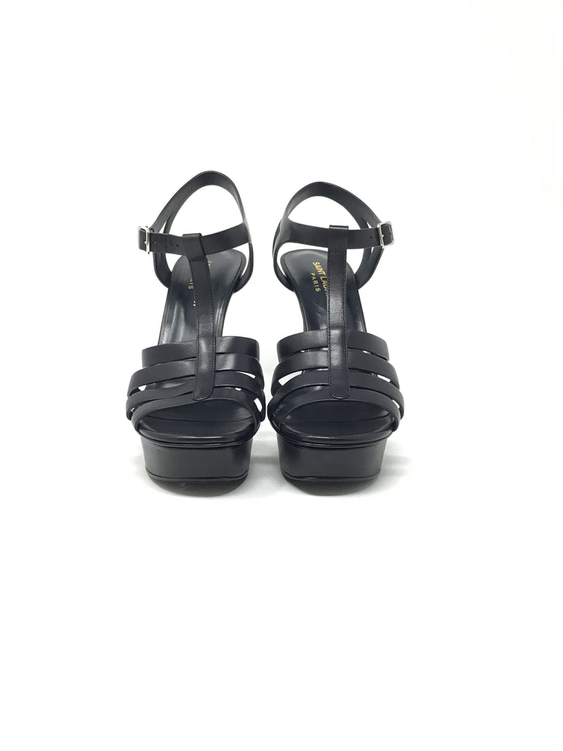 Saint Laurent W Shoe Size 38.5 'Bianca' Leather T-Strap Heel