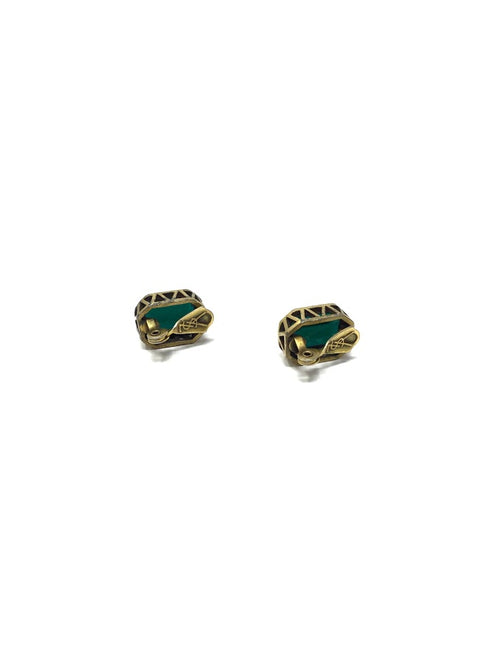 YSL Emerald Vintage Faux Emerald Clip-On Earrings