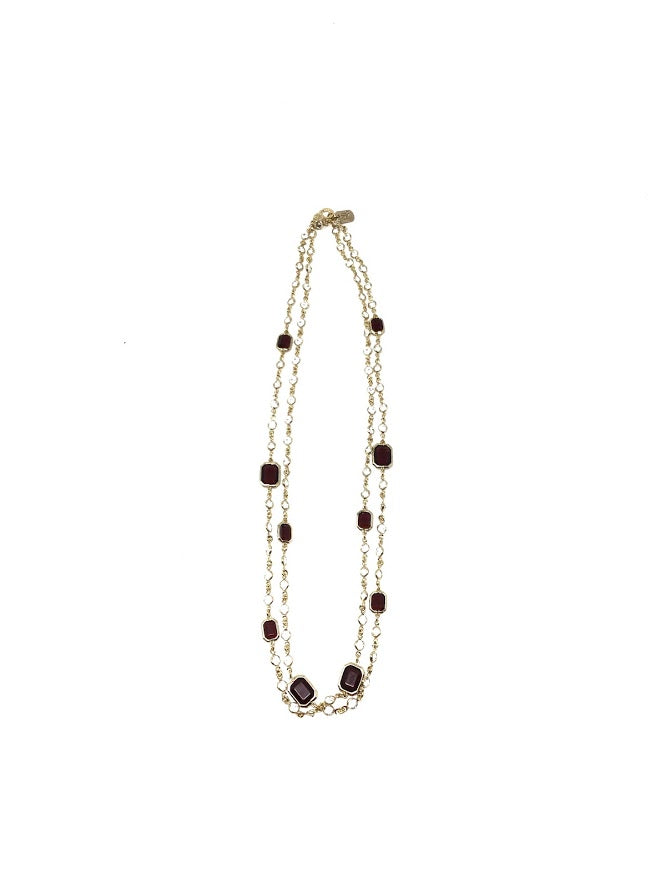 Lauren RL Faux Crystal Long Layering Necklace