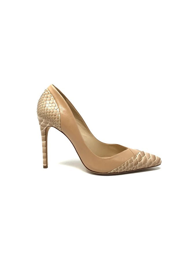 Alexandre Birman 38 Python/Leather Pointed Toe Pump
