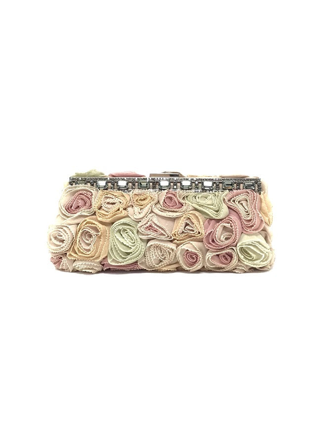 Valentino Blush Silk 'Georgette Rosette' Clutch