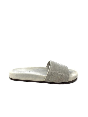 Brunello Cucinelli 39.5 Monili Textured Slide Sandal
