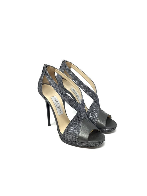 Jimmy Choo W Shoe Size 39.5 Peep Toe Glitter Fabric Criss Cross Heel
