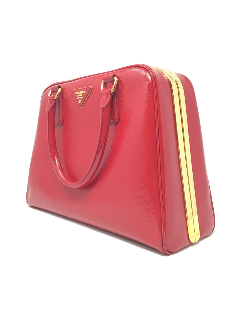 Prada Red Patent Frame Pyramid Top Handle  Handbag