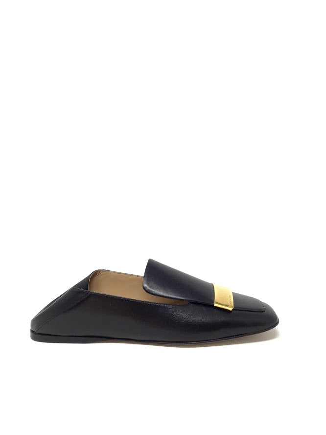 Sergio Rossi 37.5 Square Toe Slippers W/ Gold Accent