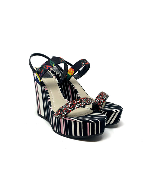Dior W Shoe Size 39 Striped Print Satin Sequin Embellished Ankle Strap Wedge