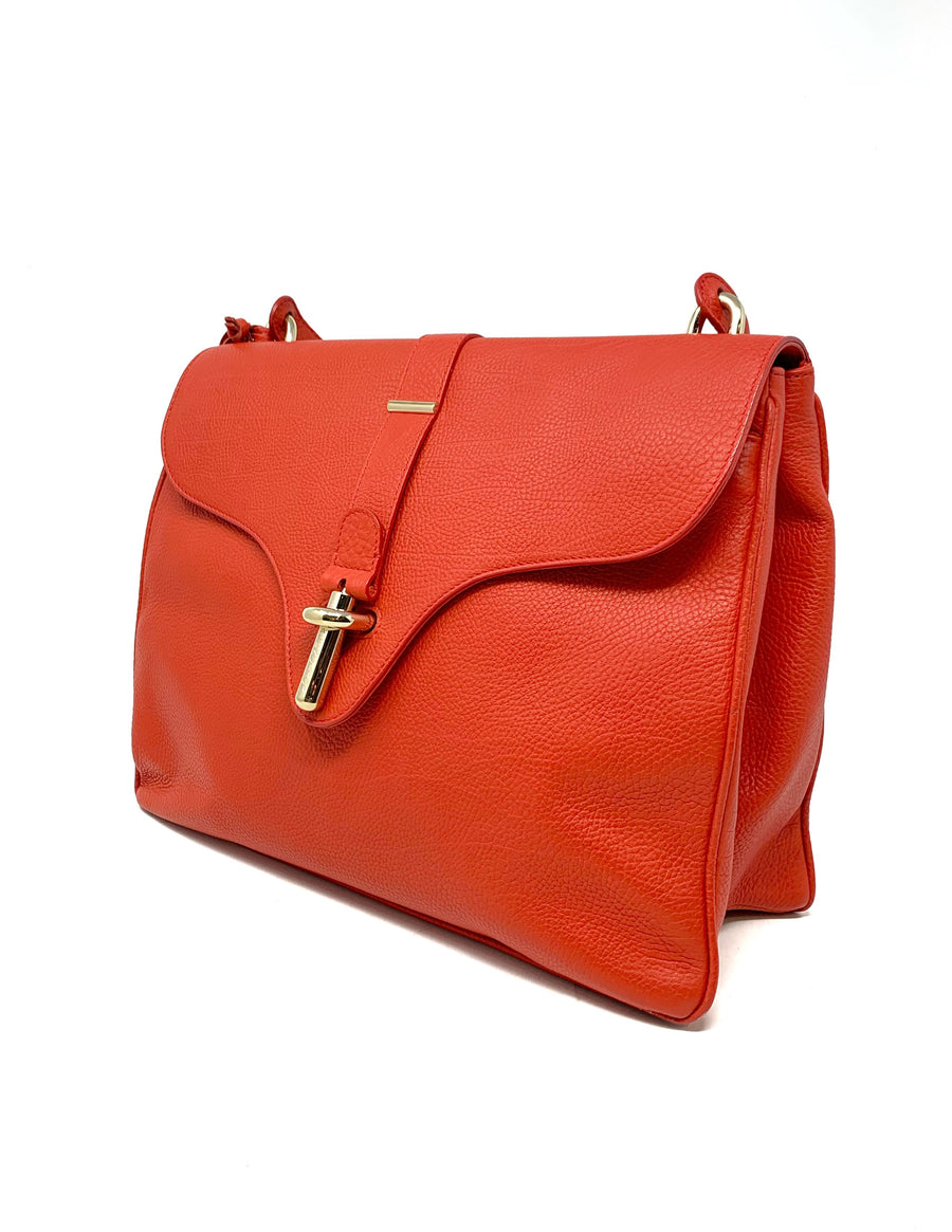 Balenciaga Red Pebbled Leather Flap Over W/ Tube Lock