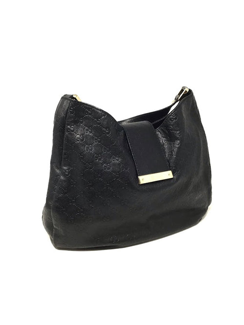 Gucci Black Leather Embossed Guccissima 'Lady Web' Hobo Bag