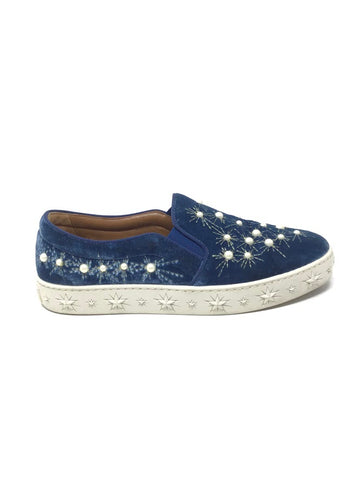 Aquazzura 39.5 Cosmic Star Velvet Pearl Slip On Sneaker