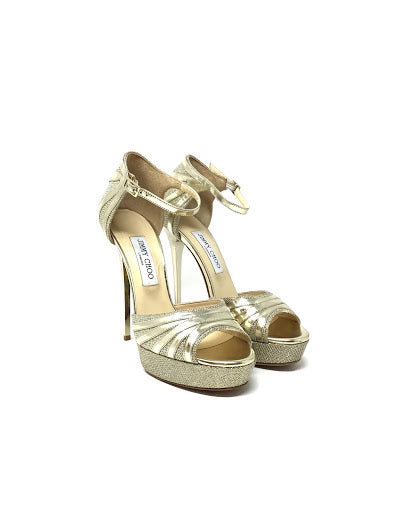 "Jimmy Choo 39.5 ""Kafta"" Metallic Platform Open Toe Heel"