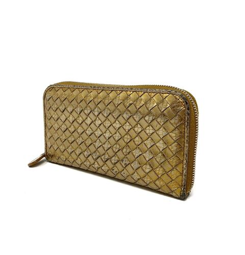 Bottega Veneta Metallic Woven Continental Wallet