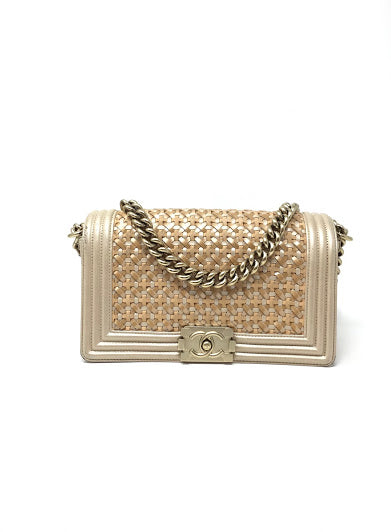 Chanel Gold Braided Med Flap Boy Handbag