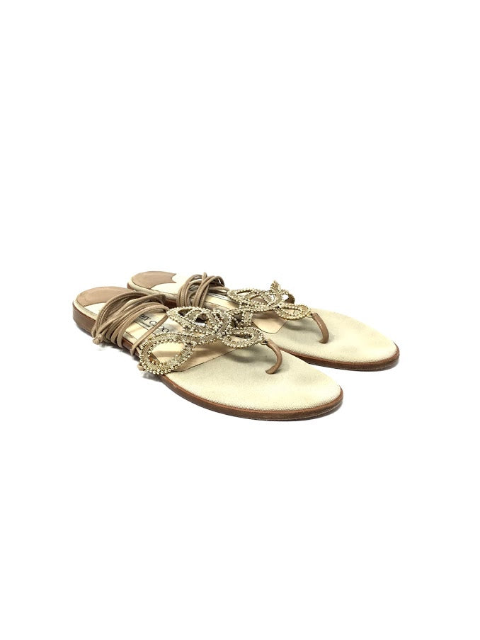 Jimmy Choo W Shoe Size 38.5 Gold Beaded Wrapped Thong Flat Sandals