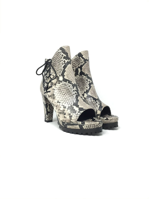 All Saints W Shoe Size 38 'Michela' Lace-Up Snake Print Platform Booties