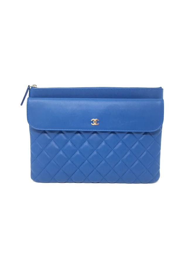 Chanel Electric Blue '17 Quilted O Case Clutch