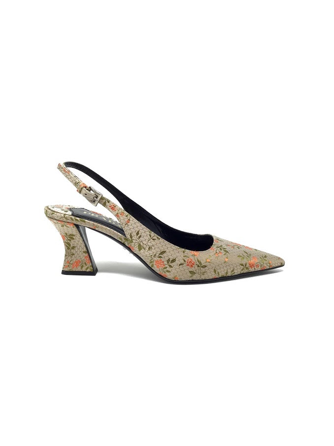 Prada 38 Floral Satin Pointed Kitten Heel W/ Sling Back