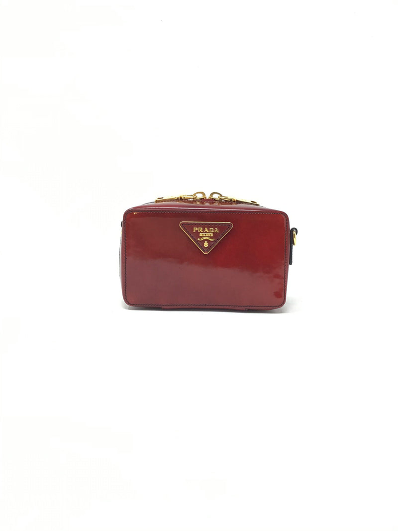 Prada '12 Patent Box Mini Crossbody