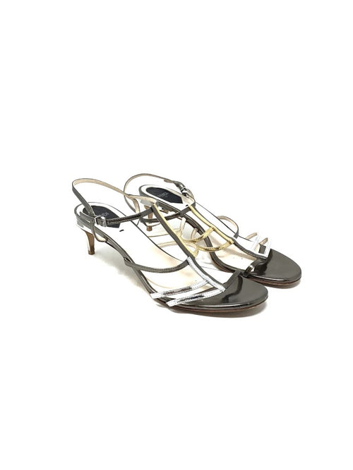 Fendi 40 Tri-Tone Metallic Strappy  Low Heel