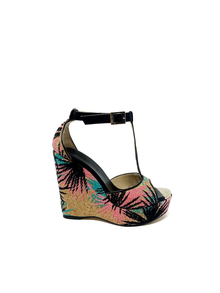 Jimmy Choo Tropical Stitched Cork Wedge