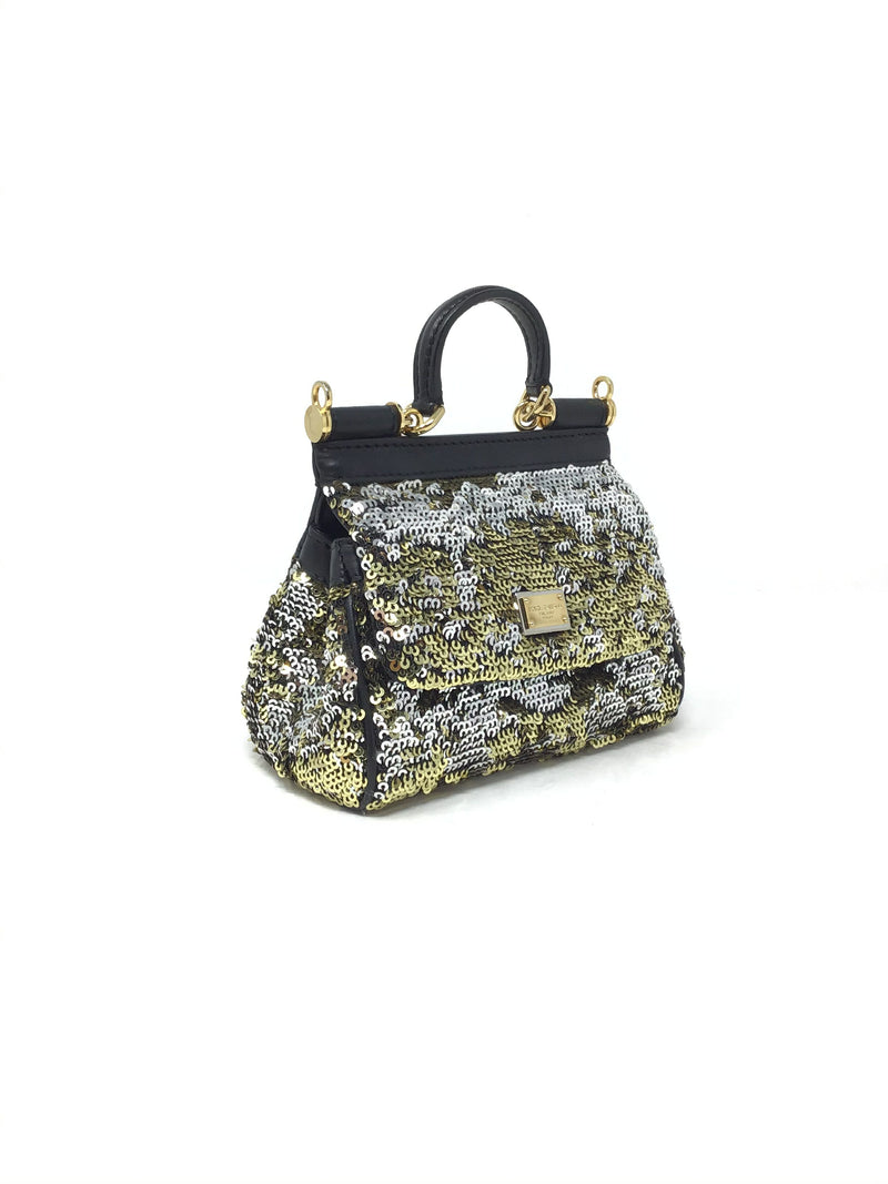 Dolce & Gabbana Gold/Black 'Mini Sicily' Sequin Bag (No Strap)