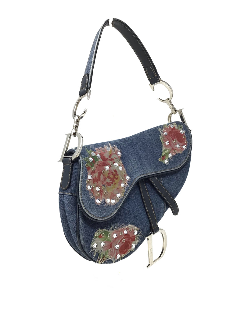 Dior Denim Rose Saddle Bag