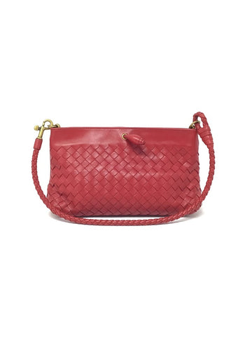 Bottega Veneta Red Small Woven Magnetic Shoulder Bag