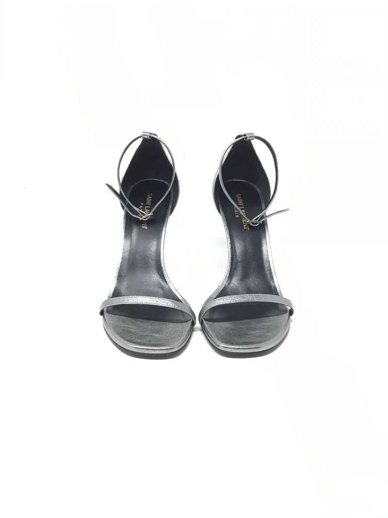 Saint Laurent W Shoe Size 40 'Jane' Metallic Open Toe Heel